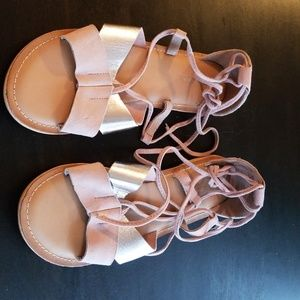 Pink and silver lace up sandals ASOS